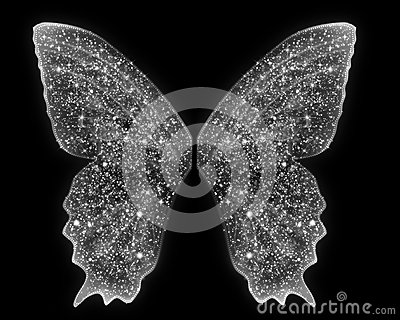 Angel wings are in white sparkles on an isolated blank background add