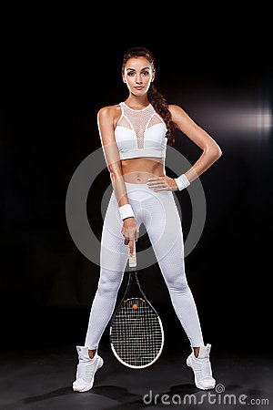 Free Beautiful Sport Woman Tennis Player With Racket In White Sportswear Costume Stock Photos - 103071213