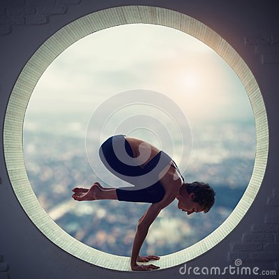 Free Beautiful Sporty Fit Yogi Woman Practices Yoga Asana Natarajasana - Lord Of The Dance Pose In A Round Window Stock Photo - 101307790