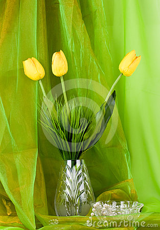 Beautiful spring flower in a glass vase