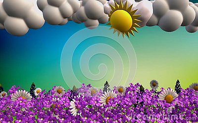 Beautiful spring landscape in 3D format Stock Photo