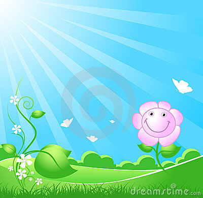 Beautiful spring nature background with sunbeam
