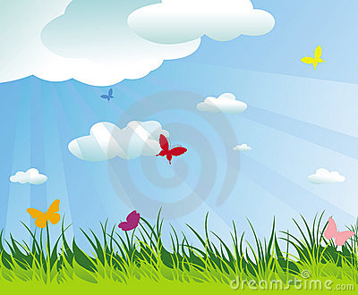 Beautiful spring/summer background and butterflies