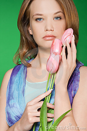 Beautiful spring tulips portrait