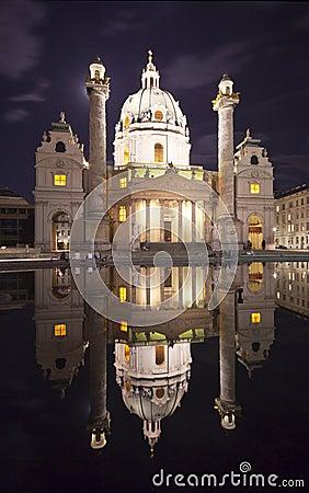 The beautiful St. Charles s Church in Vienna night
