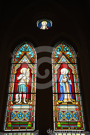 Beautiful stained glass window in the Church