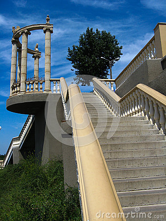 Beautiful stairs leading downwards in the city