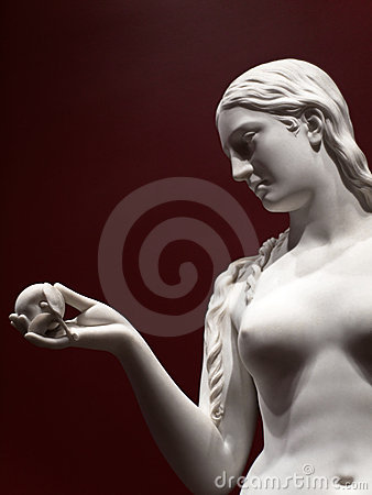 Beautiful statue of Eve with the apple