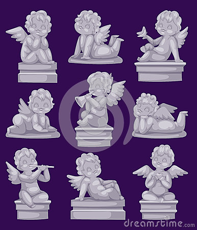 Free Beautiful Statue Of Angel Praying Isolated Marble Antique Sculpture Or Monument And Cupid Boy Statue Stone Decoration Stock Images - 86693244