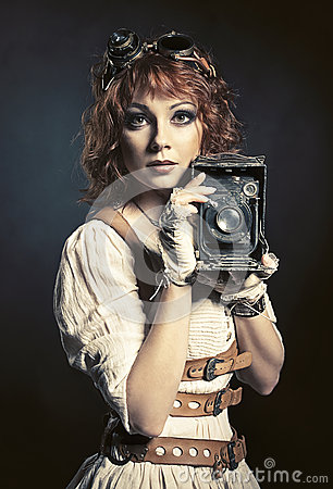Free Beautiful Steampunk Girl With Old Camera Royalty Free Stock Photography - 48904667