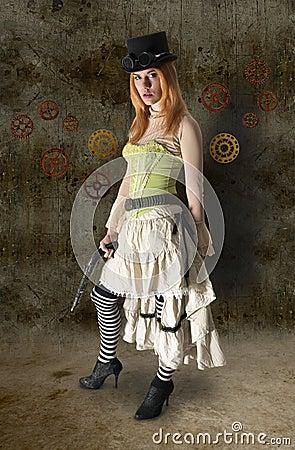 Free Beautiful Steampunk Woman Portrait With Grunge Bac Royalty Free Stock Image - 43551806