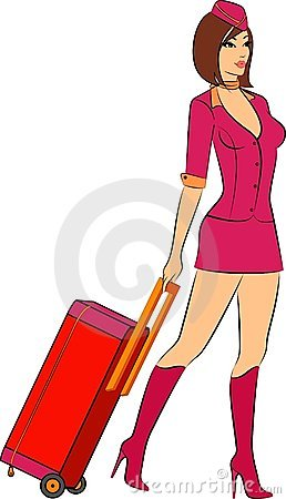 Beautiful stewardess with suitcase.