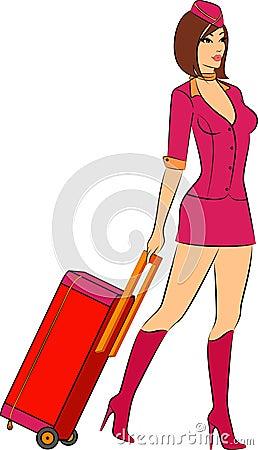 Beautiful stewardess with suitcase.
