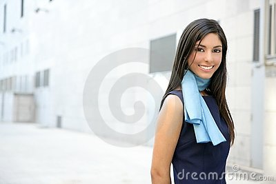 Beautiful stewardess walking to convention center Stock Photo