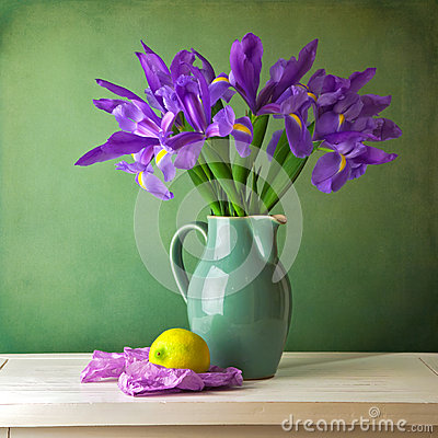 Beautiful still life with iris flower