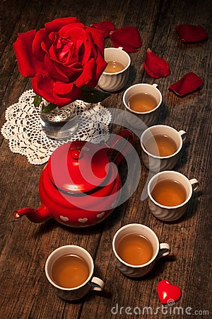 Beautiful still life with rose tea