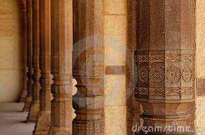 Beautiful stone columns in Amber Fort. India