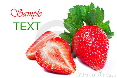Beautiful strawberries with sample text