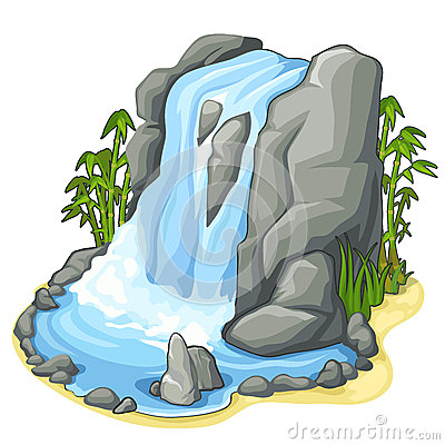 Free Beautiful Stream Of Waterfall From Cliff. Vector Royalty Free Stock Photos - 89115098