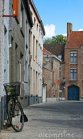 Beautiful street with bicycle in Bruges, Belgium