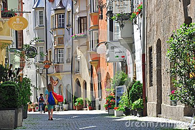 Beautiful street in Tyrol town Editorial Stock Photo