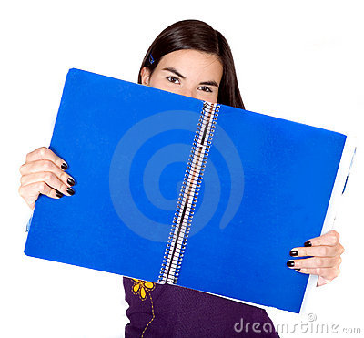 Beautiful student with a blue notebook