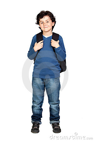 Free Beautiful Student Child With Heavy Backpack Royalty Free Stock Photo - 14038015