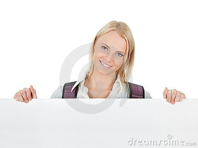 Beautiful student girl presenting empty board