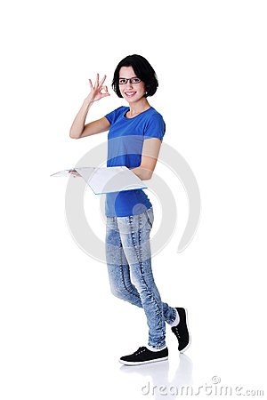 Beautiful student woman gesturing perfect.
