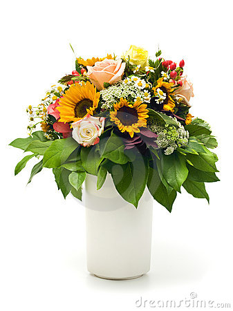 Free Beautiful Summer Bouquet In White Vase Stock Images - 10947984