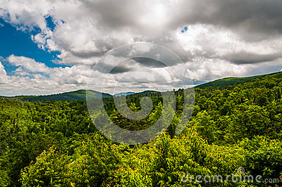 Beautiful summer clouds over the Appalachian Mountains in Shenandoah National Park