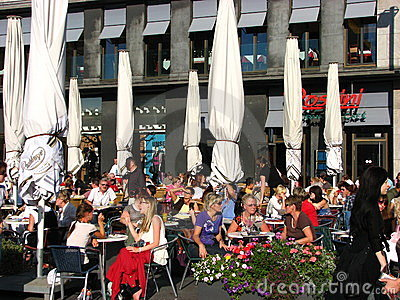 A beautiful summer day at a Cafe, Halle, Germany Editorial Stock Image