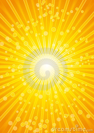 Beautiful sunburst heat wave background with lens.