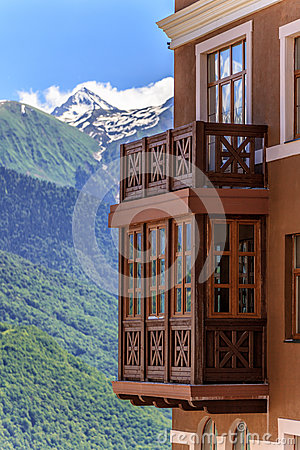 Free Beautiful Sunny Landscape Of Hotel Building At Sichi Mountain Ski Resort On Green Forest, Snowy Mountain Peaks Royalty Free Stock Image - 89727926