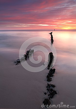 Beautiful sunrise at baltic beach in Poland