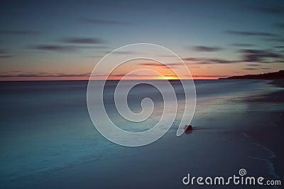Beautiful sunrise at Baltic sea. Sunrise over the sea. Chalupy, Poland.