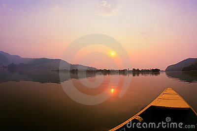 Beautiful sunrise landscape on Phewa lake