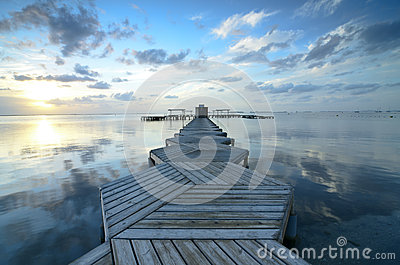 Beautiful Sunrise in Mar Menor with a dock