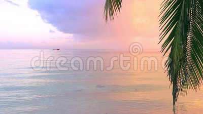 Beautiful sunrise over the exotic beach. Tropical sea waves under the blue sky. Beautiful sunrise over the exotic beach. Tropical sea waves under the blue sky stock video footage