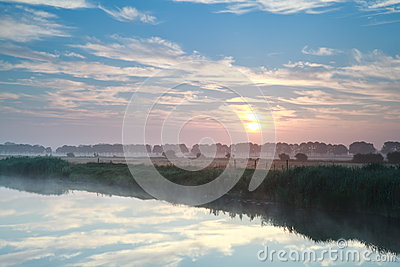 Beautiful sunrise over river