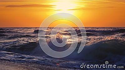 Sunrise over the sea waves. Beautiful sunrise over the sea waves stock video footage