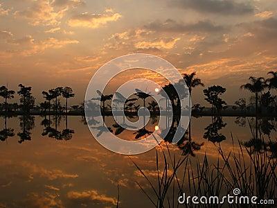 Beautiful sunrise reflected on lake