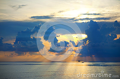 Beautiful sunrise on sea