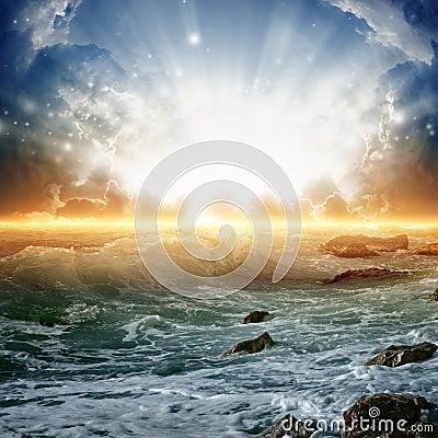 Beautiful sunrise on sea
