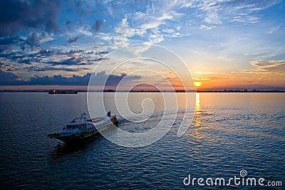 Beautiful sunrise at the sea horizon