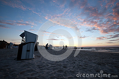 Beautiful sunset at baltic beach in Poland