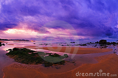 Beautiful sunset in the beach with purple sky