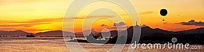 Beautiful sunset glow panorama
