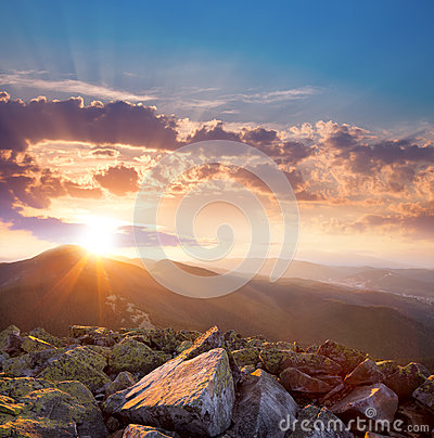 Free Beautiful Sunset In The Mountains Landscape. Dramatic Sky And Co Royalty Free Stock Image - 48024556