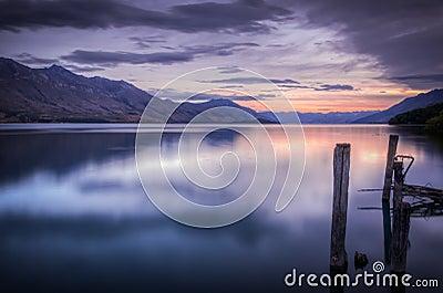 Beautiful sunset at Lake Wakatipu